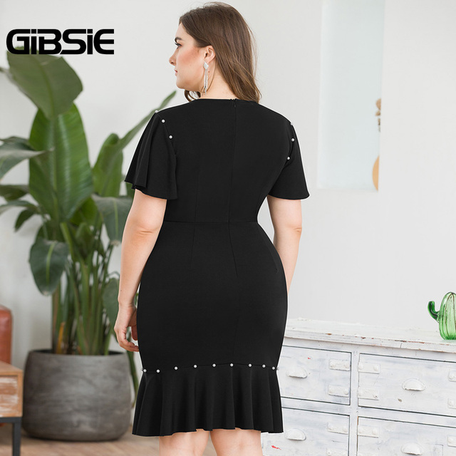 GIBSIE Plus Size Women Party Elegant Beading Midi Dress Summer Office Lady Black O-Neck Slit Sleeve Bodycon Sheath Mermaid Dress 2