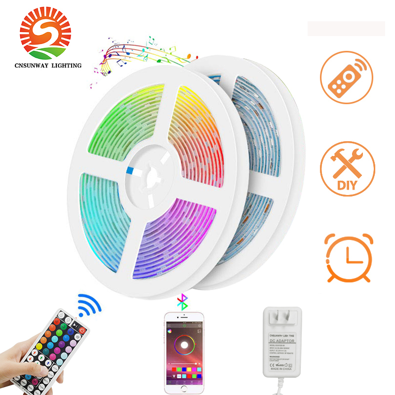 RGB LED Strip Lights Bluetooth SMD5050 Smart Timing LED Rope Light Strips Kits 44 Key RF Remote Controller 2 In 1 Adapter