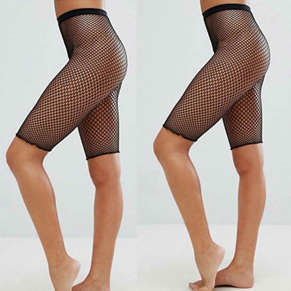 Hirigin Women Spring Summer Streetwear Black Sporty Fishnet Mesh Legging Cycling  Hot Pants Sexy Stockings