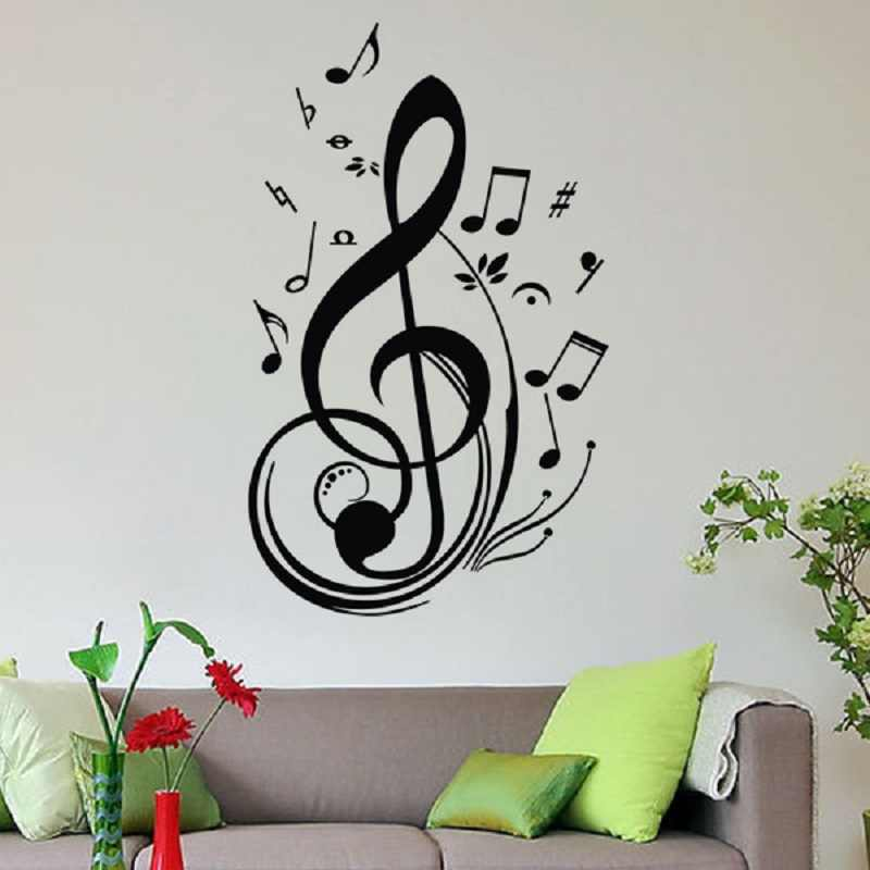 New Fashion Unique Black Music Note Notes Decal Wall Sticker Home Living Room Decor Wall Decoration Adesivo De Parede Pegatinas