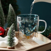 300Ml Creative Christmas Tree Glass Cup Heat-Resistant Double Wall Glass Cup Coffee Mug with Lid Cute Christmas Gifts for Girls 4