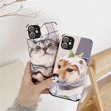 חמוד Cartoon חתול כלב רך עמיד הלם טלפון מקרה עבור Vivo Y17 Y15 Y12 Y85 X27 X30 X50 X60 פרו IQOO NEO 5 7 V15 Y50 S9 Z5X Y52S