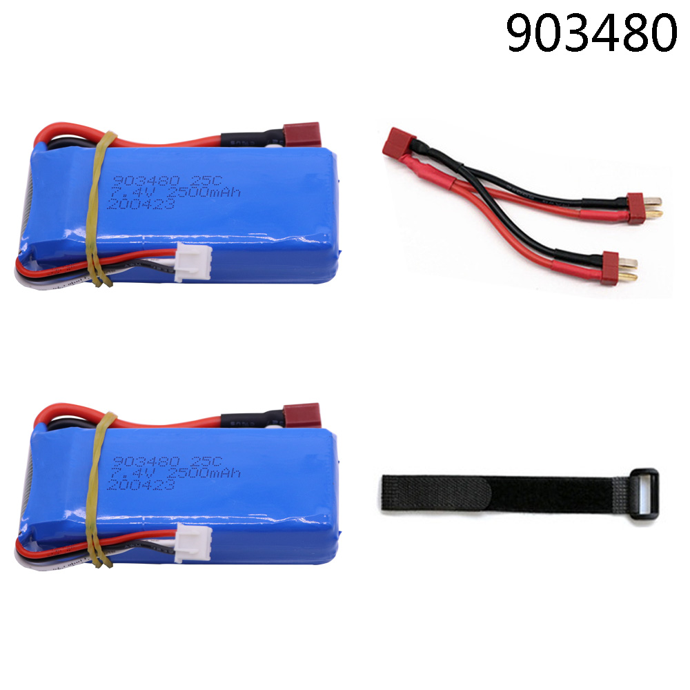 7.4V Upgrade <font><b>5000mAh</b></font> <font><b>lipo</b></font> battery T plug for Wltoys 12428 12423 RC Car accessory 7.4V 2500mah <font><b>2S</b></font> <font><b>lipo</b></font> battery 903480 image