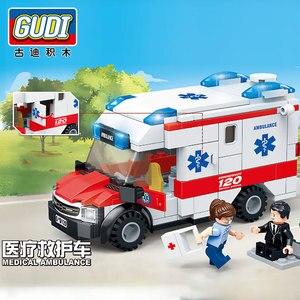 Image 5 - مدينة جديدة الإسعاف الطبي الإنقاذ هليكوبتر الطوارئ سيارة مطافئ اللبنات مجموعات الطوب ألعاب تعليمية للأطفال هدية