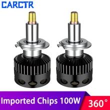CARCTR LED רכב פנס נורות H7 Led מנורות H11 H8 H3 D1S D2S D3S D4S 360 תואר 6000K גבוה כוח 100W 12000LM רכב אור