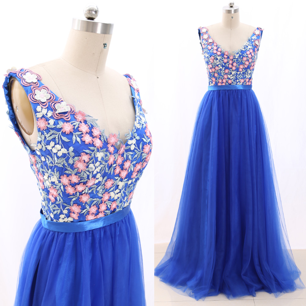 MACloth Blue Ball Gown V Neck Floor-Length Long Embroidery Tulle   Prom     Dresses     Dress   M 266892 Clearance