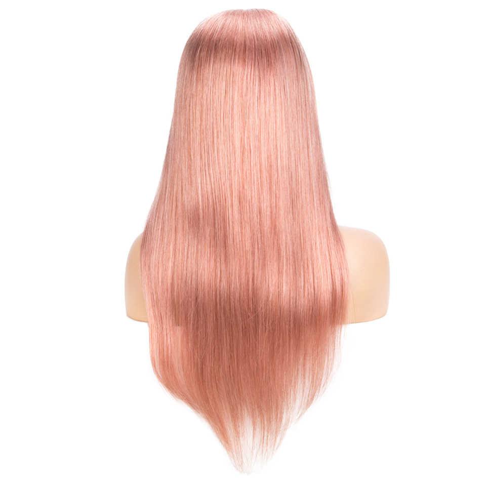 Sleek 4x4 Veletta Nella Chiusura Parrucche Rosa Bionda Diritta Brasiliana BOB Capelli UMANI Parrucche 10-22 pollici Corto In Pizzo prePlucked Parrucche Per Le Donne