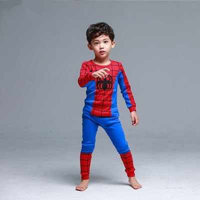 2018 Spring And Autumn Childrenswear Children Spider-Man Underwear Suit Baby Thermal Underwear Girls Tracksuit Base Shirt