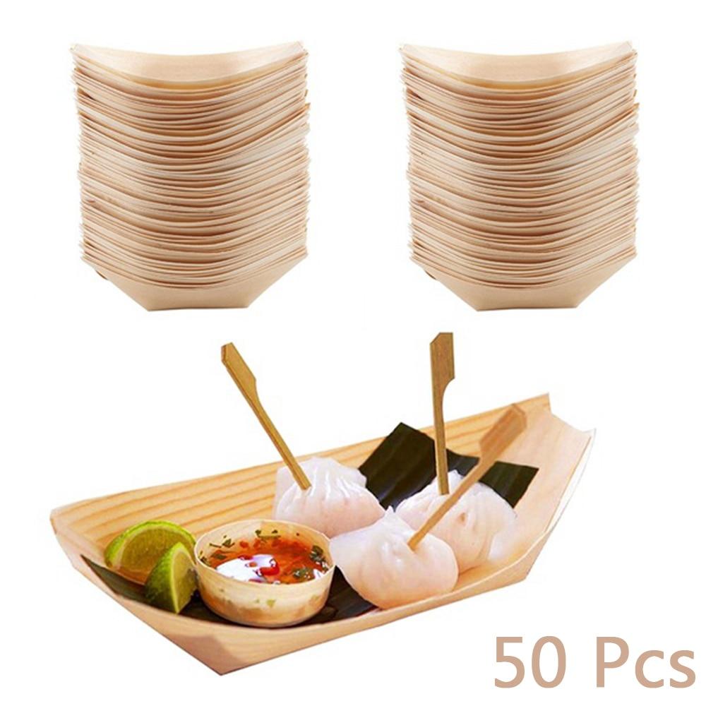 Одноразовый поднос для еды из соснового дерева, 50 шт.-0