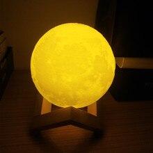 3D принт Перезаряжаемые Луна USB светильник сенсорный выключатель 2 цвета луна светильник на Рождество/Подарки на год 8 см; 10 см; 12 см/15 см/18 см/20 см