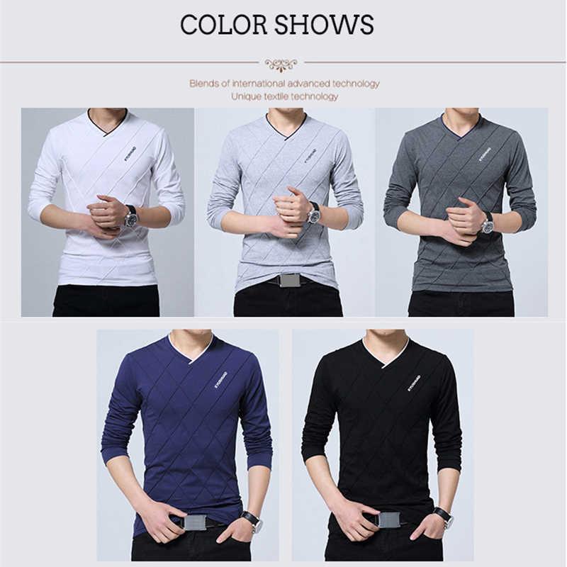 BROWON 2020 moda erkek T-shirt Slim Fit özel T-shirt kırışık tasarım uzun şık lüks V boyun spor T-shirt Tee gömlek homme
