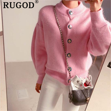 RUGOD 2019 Korean knitted cardigant women elegant sweet lantern sleeve winter warm coat female Fashion single-breasted sweaters