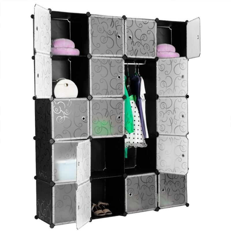 Storage Box 5 Layers 20 Doors Plastic Wardrobe Assembly Locker Clothes Cabinet Wardrobe Closets Bedroom Plastic Modern Fold HWC