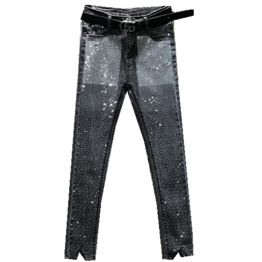 2020 Spring Autumn Hot Rhinestone Jeans Women High-waist Stretch Ankle Length Skinny Feet Denim Pants