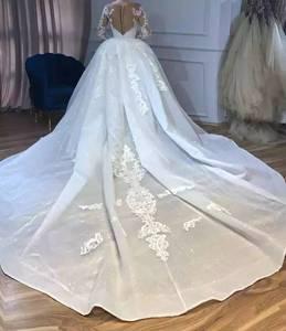 Image 3 - להסרה חצאית בת ים ארוך שרוול טול תחרה חרוזים קריסטל יוקרה סקסי חתונת שמלת כלה שמלה מותאם אישית גודל SC01M