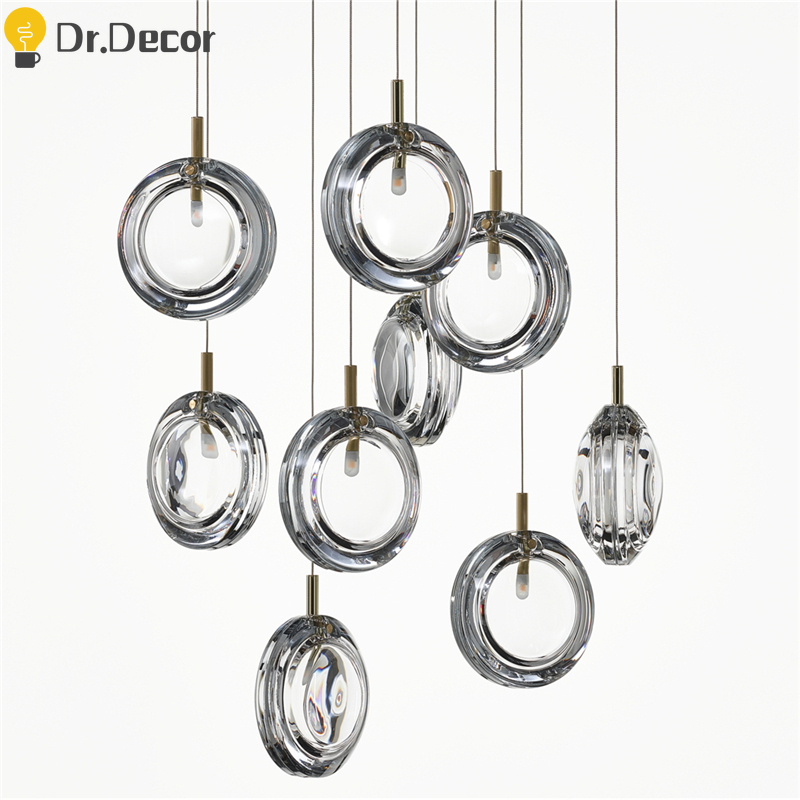Post-modern Creative Glass Pendant Lights Bar Cafe Decor Pendant Lamp Art Design Luxury Stair Living Room Hanglamp Luminaria