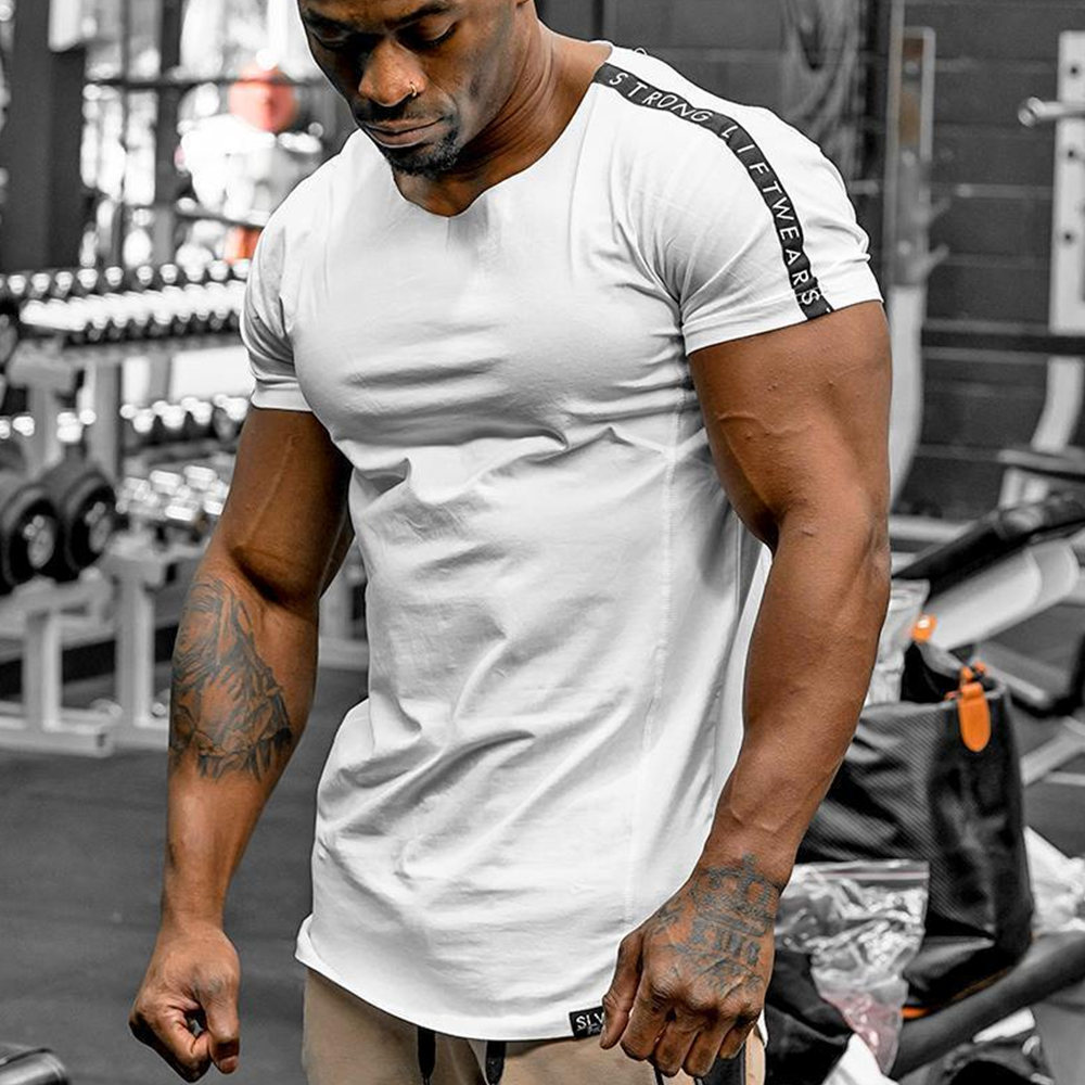 Gyms Fitness Slim T-shirt Men Bodybuilding Workout Short Sleeve Cotton T Shirt Male Summer Casual Fashion Tee Tops Brand Apparel