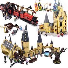 Sihirli kale gökyüzü büyük salon Quidditch maç Express Buckbeak kurtarma Hedwig yapı taşları tuğla oyuncaklar
