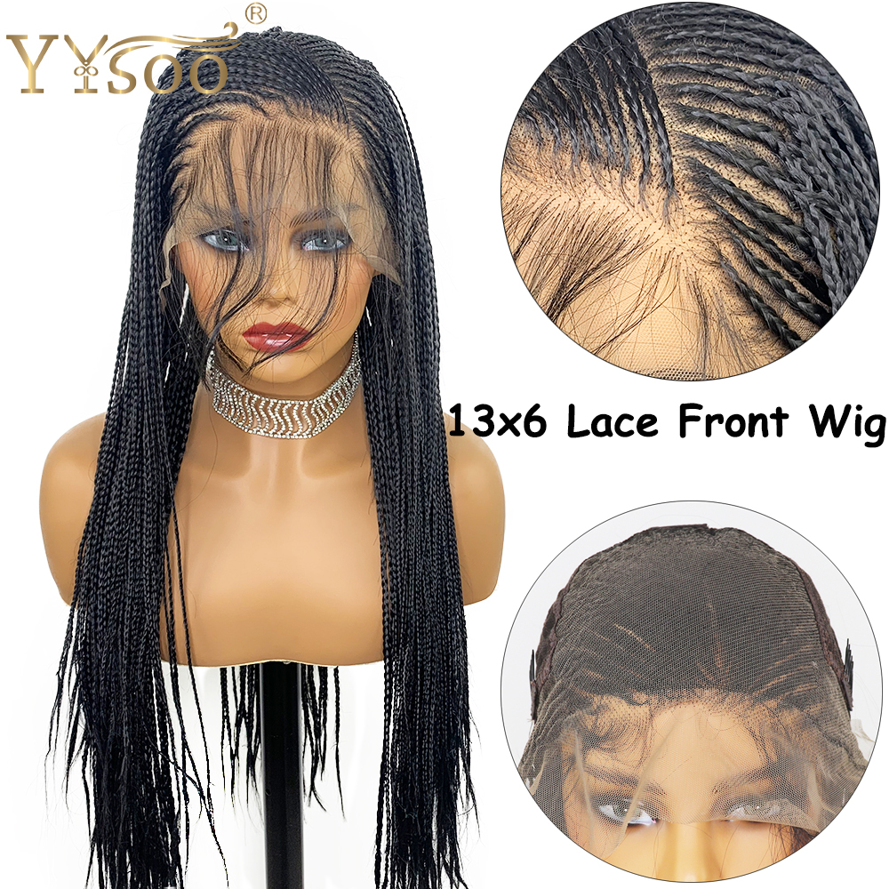 YYsoo Long Micro Braided 13x6 Synthetic Lace Front Wigs For Black Women Full Hand Tied Box Braided Lace Front Wig Heat Resistant