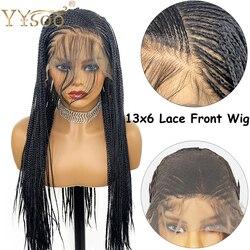 Yysoo Lange Micro Gevlochten 13X6 Synthetische Lace Front Pruiken Voor Zwarte Vrouwen Volledige Hand Gebonden Doos Gevlochten Kant front Pruik Hittebestendige