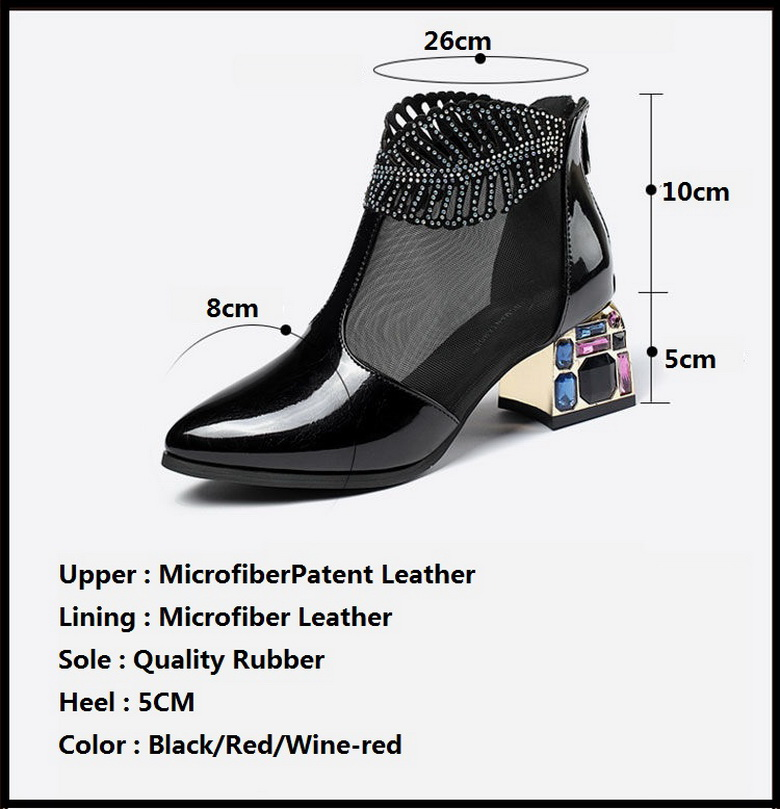 2020 New Sexy Sandals Boots Women Mid Heels Ankle Boot Patent Leather Mesh Thick Heel Pointed toe Shoes for Woman Zip Black Red