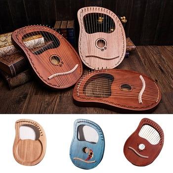 Hot 16-Tone Log Lyre Portable Musical Instrument 16-Strings Solid Wood Veneer Lyre Stringed Instrument MVI-ing