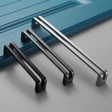 Black Grey Nickle Metal Furniture Cabinet Wardrobe Drawer Handle For Home Hotel House Building