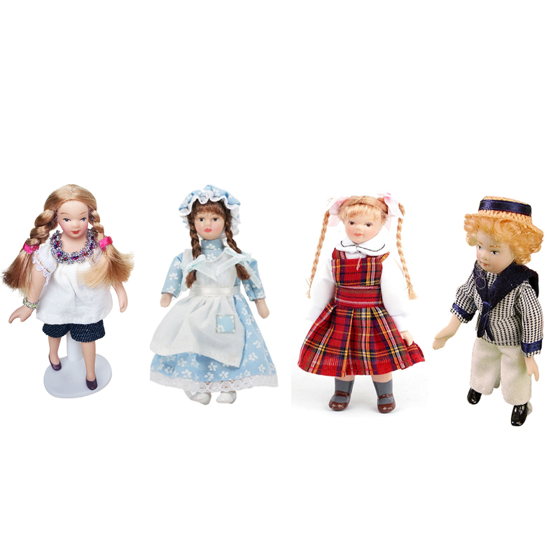 1:12 Dollhouse Miniature Porcelain Doll Model Little Pretty Girl Boy