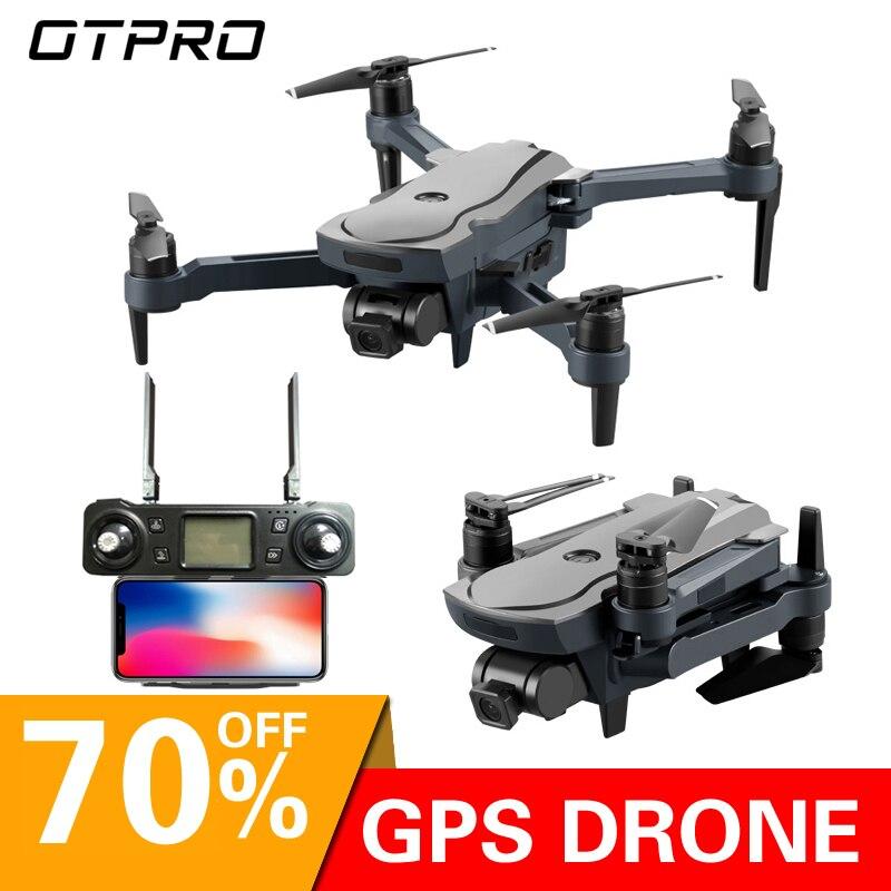 Zangão sem escova do retorno inteligente da câmera servo do motor de wifi fpv quadcopter do zangão de otpro dron 4 k gps com brinquedos da câmera vs x9