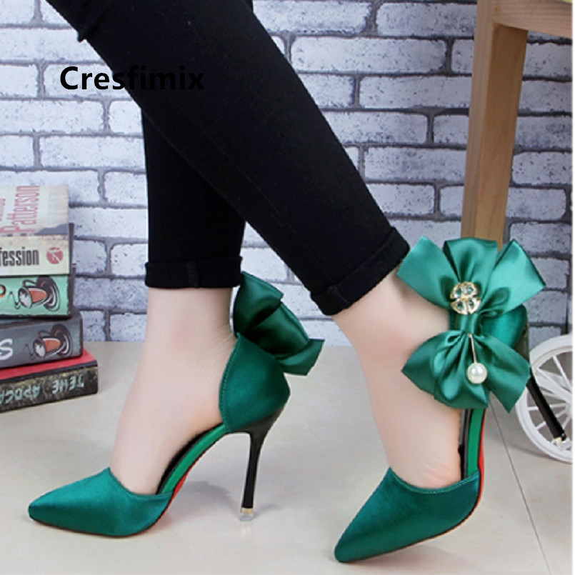 Cresfimix Women Cute Sweet Green Bow Tie High Heel Shoes Lady Sexy Party Night Club High Heel Pumps Female Shoes Scarpin A5508
