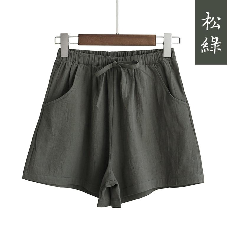 New Hot Summer Casual Cotton Linen Shorts Women Plus Size High Waist Shorts Fashion Short Pants  Streetwear Women's Shorts 10