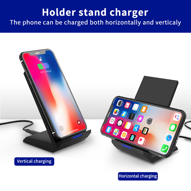 Coolreall Qi Wireless Charger Stand for iPhone X XS 8 XR Samsung S9 S10 S8 S10E 15W Fast Wireless Charging Station Phone Charger 6