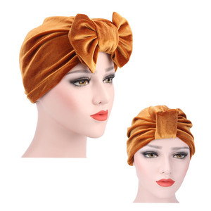 Image 2 - Fashion Women Bow bowknot Hijab Velvet Cap Chemo Hat Headband Muslim Turban Bandanas for Wedding Party Hair Accessories mujer