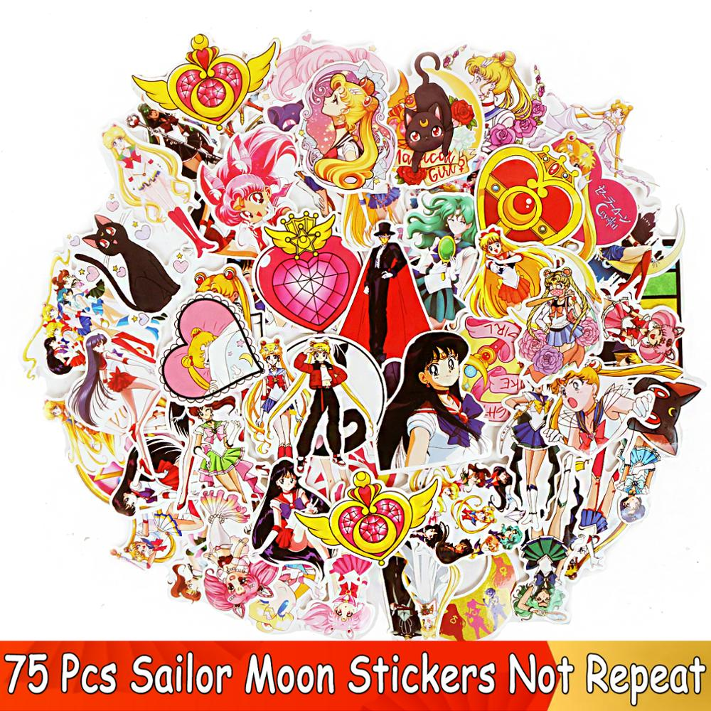 75 Pcs/ Lot JDM Stickers For  Sailor Moon Anime Girl Sticker  For Home Decor Decal Phone Scrapbooking Laptop Graffiti Vinyl Toy