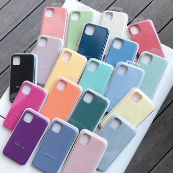 Oficjalny oryginalny futerał silikonowy do iPhone 11 12 Pro MAX SE 2020 XR X 6 6s 7 8 Plus etui do iPhone 12 mini XS pełna okładka LOGO tanie i dobre opinie Apple CN (pochodzenie) Częściowo przysłonięte etui Zwykły