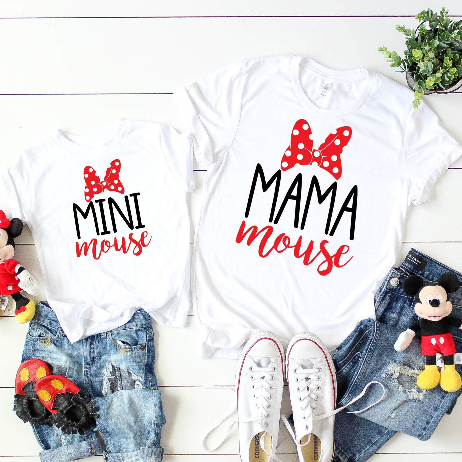Family Matching Mama Mouse And Mini Mouse T-shirt Mother Daughter Mouse Tshirt Mommy And Me Shirt Set Vacation Shirt Set