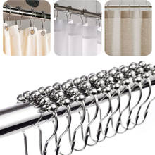12pcs/set Stainless Metal Shower Curtain Rings Hooks Hook Bathroom Poles Rod Multi-Purpose Hooks(China)