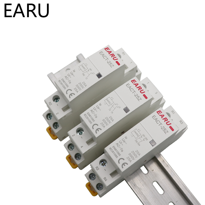 Hb442ef054e3a4ae497e5525ef4004e58u - EACT-25Z DC 12V 24V 2P 16A 25A 1NO 1NC 2NO 2NC Contact Din Rail Household DC Modular Contactor Switch for Smart Home House Hotel