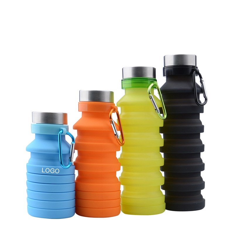 550ML Folding Silicone Water Bottles BPA FREE Food Grade Portable Water Drinking For Outdoors