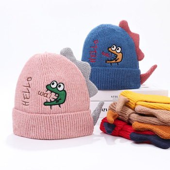 Autumn Winter Boy Girl Dinosaur embroidery Wool Knitted Hat Baby Cartoon Caps For Kids Bonnet image