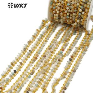 Image 3 - WT RBC105 WKT متعددة الألوان امازونيتي الذهب سلك ملفوفة الوردية سلسلة 5 متر للنساء صنع مجوهرات أنيقة
