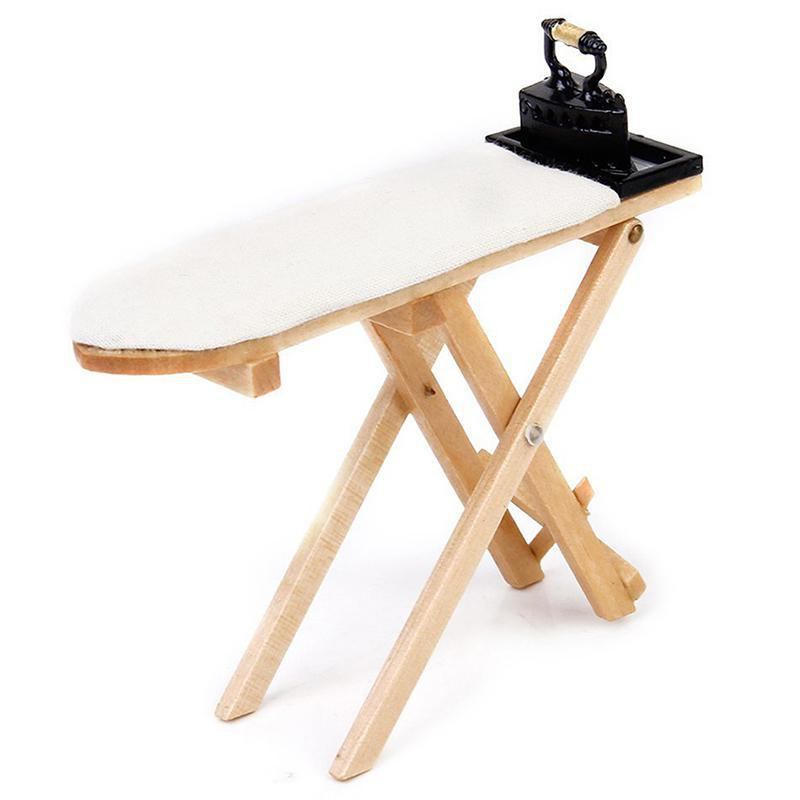 Mini Craft White Wood Ironing Board Scene Accessories Dollhouse Miniature Furniture Toy Only 1:12 Doll House Ironing Board