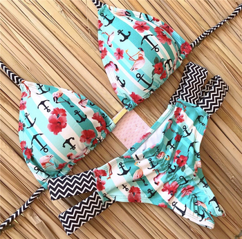 Print Swimwear String Mini Swimsuit 2020 Brazilian Bikini New Lace-up Beach wear Sexy Halter Swimsuit Women Thong Micro Bikini 2