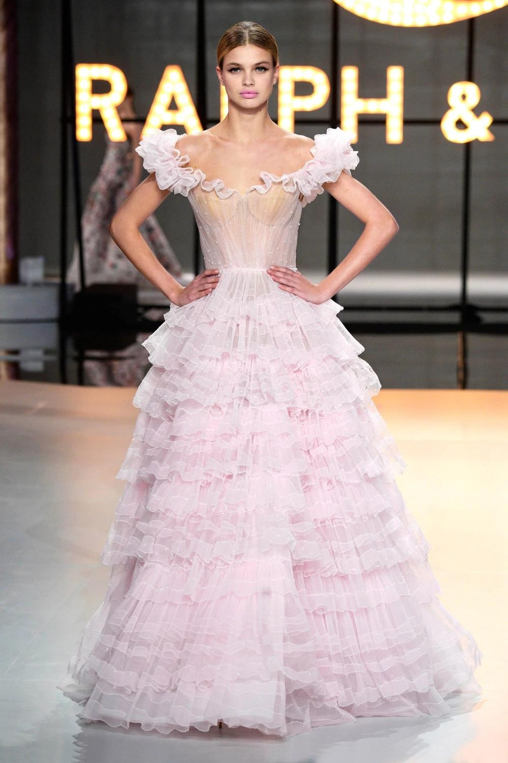 Pale Pink Pleated Tulle Ballgown Featuring Tiered Fuffles Frilled Off-the-shoulder Neckline Scattered Beading Evening Dress