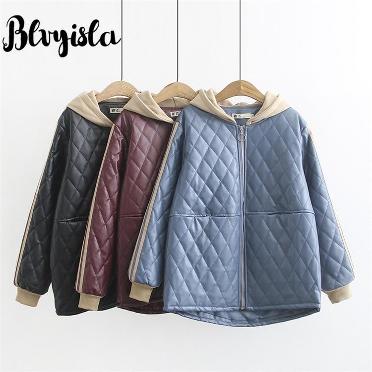 Blvyisla 100kg Female Loose Size Parkas Coats Women Warm Winter PU Leather Hoodies Zipper Jackets Outwear Coat Bubble Coats