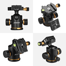 Andoer Aluminium Alloy Panoramic Tripod Ball Head Ballhead Mount Adapter 360° Rotating with Quick Release Plate 3kg/6.6lbs Load