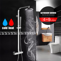 Xueqin Chrome Bathroom Shower Faucet Set Mixer Tap Round Rainfall Shower Head Set With Square Handheld Sprayer Wall Mounted