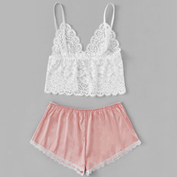 Rose lace suspenders bra silk underwear sexy home pajama ladies sexy lingerie pajama suit large satin