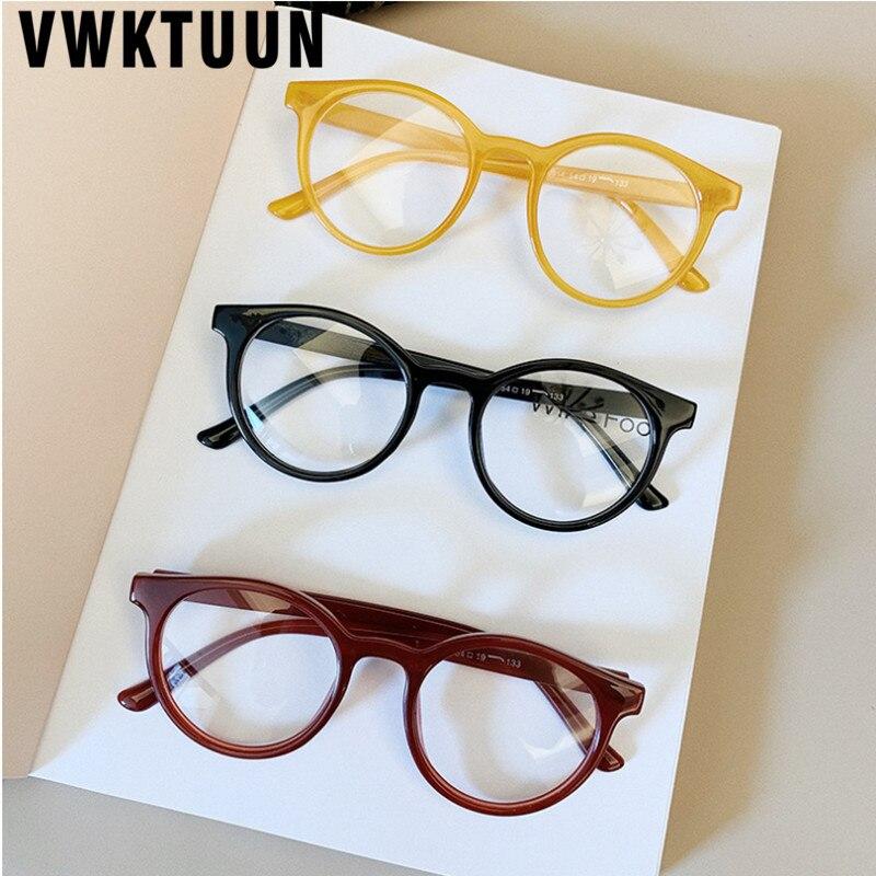 VWKTUUN Round Glasses Frame Vintage Soild Candy Color Eye Glasses Frames For Women Clear Lens Myopia Computer Glasses