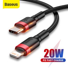 Baseus-Cable USB C de carga rápida para iPhone 11 Pro Max PD 20W, Cable de iluminación para iPhone 12 7 Xr, Cable de datos USB tipo C